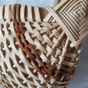 Vintage Boho Hanging Wall Basket w/Leather Accents